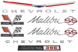 1965-1965 Chevelle Nameplate Kit, 1965 Chevelle 396 Malibu, SS