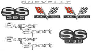 1967-1967 Chevelle Nameplate Kit, 1967 Chevelle Super Sport SS396