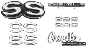 1970-1970 Chevelle Nameplate Kit, 1970 Chevelle SS396 w/o Cowl Induction