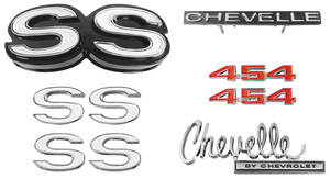 1970-1970 Chevelle Nameplate Kit, 1970 Chevelle SS454 w/o Cowl Induction