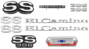 1970-1970 El Camino Nameplate Kit, 1970 El Camino SS 396 w/o Cowl Induction