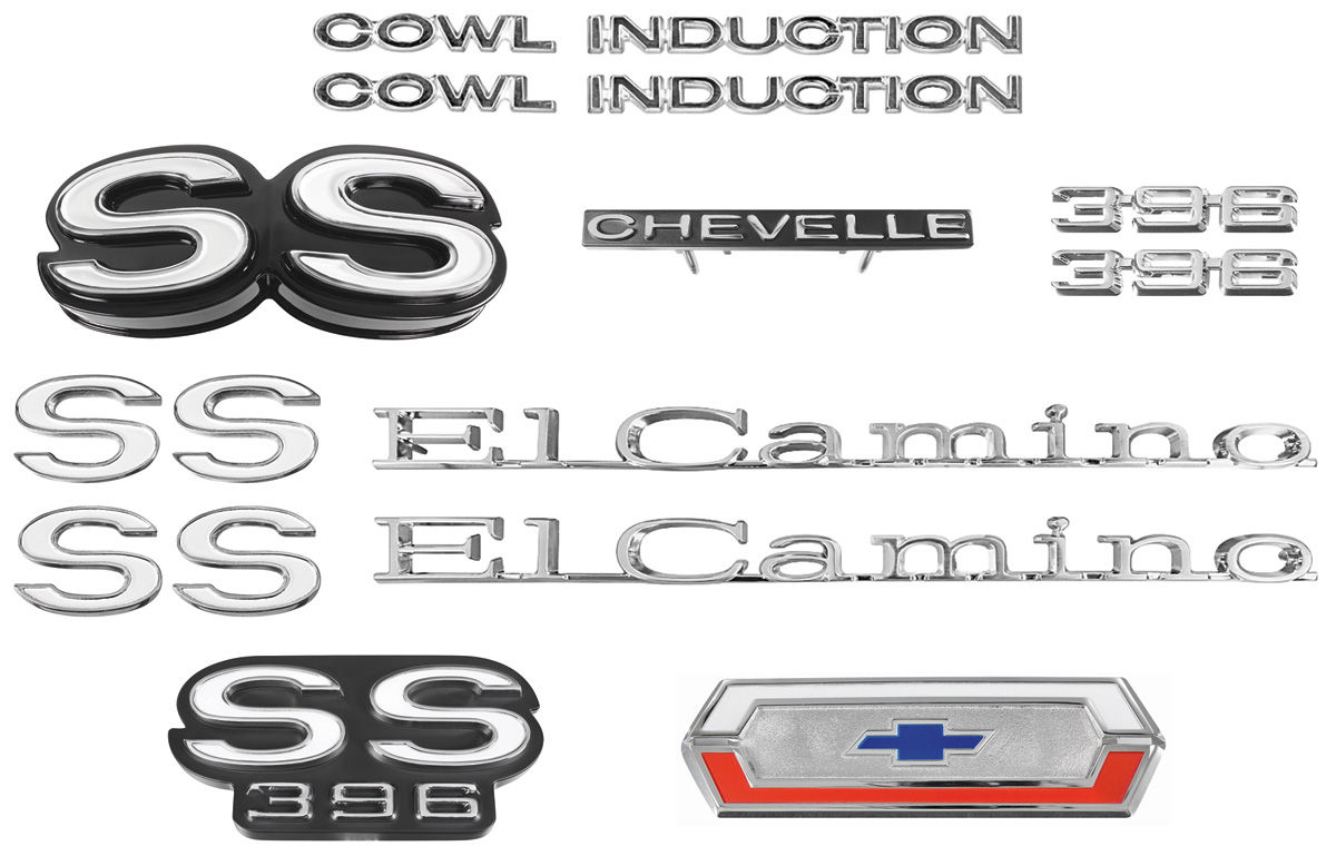 Photo of Nameplate Kit, 1970 El Camino SS 396 w/cowl induction