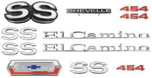 1970-1970 El Camino Nameplate Kit, 1970 El Camino SS 454 w/o Cowl Induction