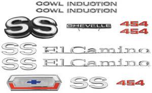 1970-1970 El Camino Nameplate Kit, 1970 El Camino SS 454 w/Cowl Induction