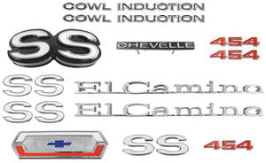 Nameplate Kit, 1970 El Camino SS 454 w/Cowl Induction