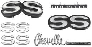 1971-1971 Chevelle Nameplate Kit, 1971 Chevelle SS350/396 w/o Cowl Induction