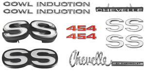 1971-1971 Chevelle Nameplate Kit, 1971 Chevelle SS454 w/Cowl Induction