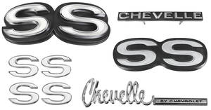 1972-1972 Chevelle Nameplate Kit, 1972 Chevelle SS350/396 w/o Cowl Induction