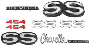 1972-1972 Chevelle Nameplate Kit, 1972 Chevelle SS454 w/o Cowl Induction