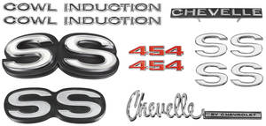 1972-1972 Chevelle Nameplate Kit, 1972 Chevelle SS454 w/Cowl Induction
