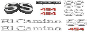 1971-1971 El Camino Nameplate Kit, 1971 El Camino SS454 w/o Cowl Induction