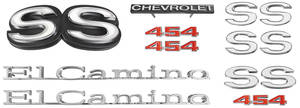 Nameplate Kit, 1972 El Camino SS454 w/o Cowl Induction