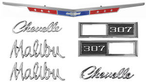 1968-1968 Chevelle Nameplate Kit, 1968 Chevelle 307 Malibu