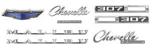 1969-1969 Chevelle Nameplate Kits, 1969 Chevelle 307 Malibu