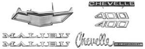 1972-1972 Chevelle Nameplate Kit, 1972 Chevelle 400 Malibu, Non-SS