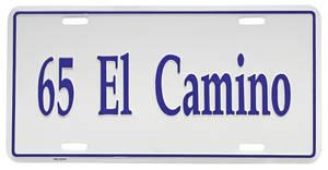 """1965-1965 El Camino License Plate, """"El Camino"""" Embossed, by RESTOPARTS"""