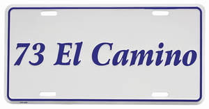 """1973 License Plate, """"El Camino"""" Embossed, by RESTOPARTS"""