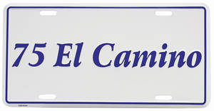 """1975 License Plate, """"El Camino"""" Embossed, by RESTOPARTS"""