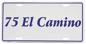 """1975-1975 El Camino License Plate, """"El Camino"""" Embossed, by RESTOPARTS"""