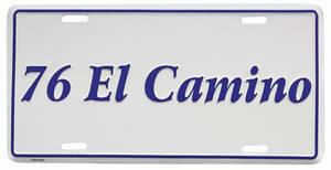 """1976-1976 El Camino License Plate, """"El Camino"""" Embossed, by RESTOPARTS"""