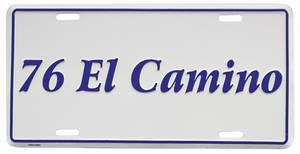 "1976 License Plate, ""El Camino"" Embossed, by RESTOPARTS"