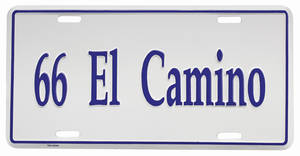 "1966-1966 El Camino License Plate, ""El Camino"" Embossed, by RESTOPARTS"