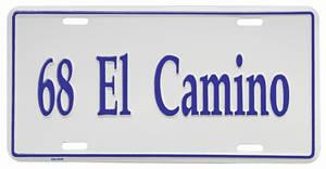 """1968-1968 El Camino License Plate, """"El Camino"""" Embossed, by RESTOPARTS"""