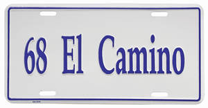 "1968 License Plate, ""El Camino"" Embossed"