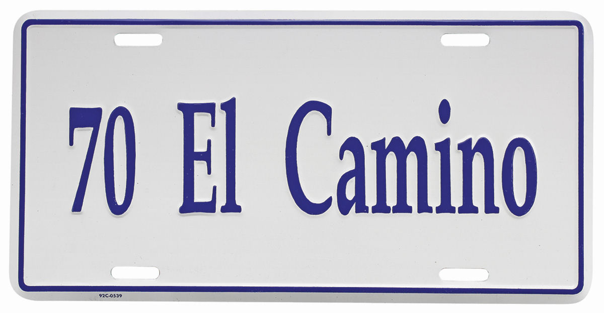 "Photo of License Plate, ""El Camino"" Embossed"