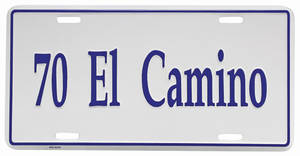 "1970 License Plate, ""El Camino"" Embossed"