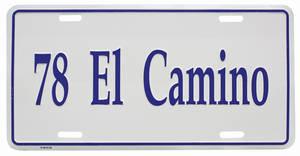 """1978-1978 El Camino License Plate, """"El Camino"""" (Custom Embossed), by RESTOPARTS"""