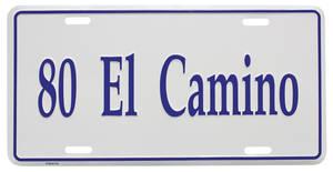 """1980-1980 El Camino License Plate, """"El Camino"""" (Custom Embossed), by RESTOPARTS"""