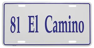 """1981-1981 El Camino License Plate, """"El Camino"""" (Custom Embossed), by RESTOPARTS"""