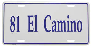 "1981 License Plate, ""El Camino"" (Custom Embossed)"