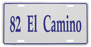 "1982 License Plate, ""El Camino"" (Custom Embossed)"
