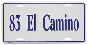 """1983-1983 El Camino License Plate, """"El Camino"""" (Custom Embossed), by RESTOPARTS"""