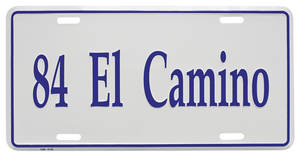 "1984 License Plate, ""El Camino"" (Custom Embossed), by RESTOPARTS"