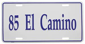 """1985-1985 El Camino License Plate, """"El Camino"""" (Custom Embossed), by RESTOPARTS"""