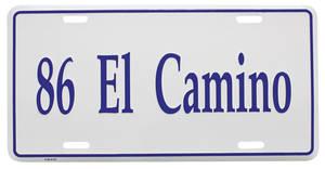 """1986-1986 El Camino License Plate, """"El Camino"""" (Custom Embossed), by RESTOPARTS"""