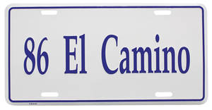 "1986 License Plate, ""El Camino"" (Custom Embossed), by RESTOPARTS"