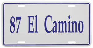 "1987-1987 El Camino License Plate, ""El Camino"" (Custom Embossed), by RESTOPARTS"