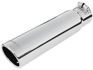 "1964-1973 GTO Exhaust Tip, Rolled Edge (Stainless Steel) 3"" Dia. (for 2-1/2"" Pipe, 12"" Length) (Clamp-on), by FLOWMASTER"