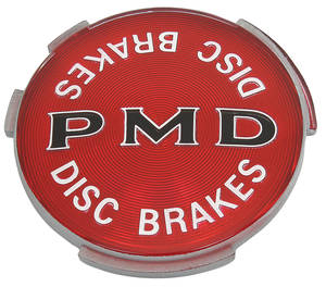 1970-1971 Tempest Wheel Cover Emblem, PMD Disc Brake Red w/Black, by TRIM PARTS
