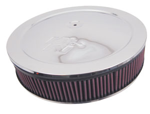 "1967-90 Cadillac Air Filter Assembly with Chrome Lid (Complete) 7/8"" Drop Base with 5"" Filter"