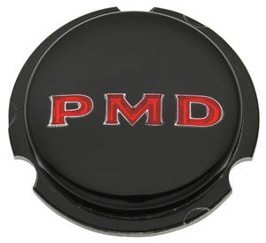 "1967-70 LeMans Wheel Center Emblem, ""PMD"" Black W/Red Pmd Rally II"