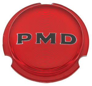 "1970-1972 GTO Wheel Center Emblem, ""PMD"" Red W/Black Pmd Rally II, by TRIM PARTS"