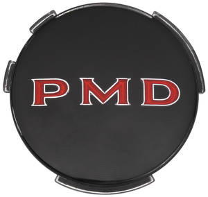 "1967-1970 Tempest Wheel Center Emblem, ""PMD"" Black W/Red Pmd 2-7/16"", by TRIM PARTS"