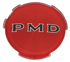 "1970-72 Grand Prix Wheel Center Emblem, ""PMD"" Red 2-7/16"" (Early '70)"
