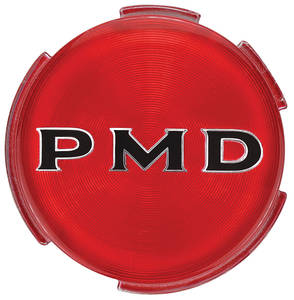 "1970-72 Tempest Wheel Center Emblem, ""PMD"" Red W/Black Pmd 2-3/4"""
