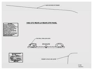 1966-1966 GTO Emblem Placement Template, 1966 GTO Rear Quarter